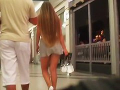 Perfect blonde teen amateur up skirt action