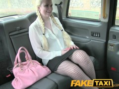 FakeTaxi Blonde likes older men in backseat of London taxi
